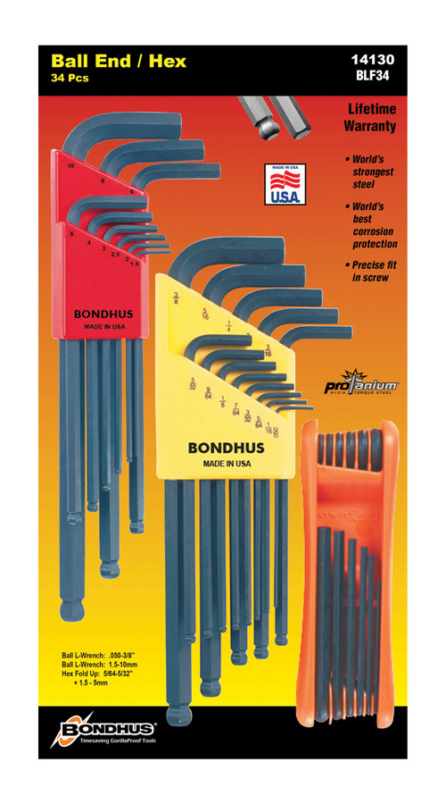 BONDHUS ProGuard Ball End Hex Inch/Metric and Hex Fold-up Set