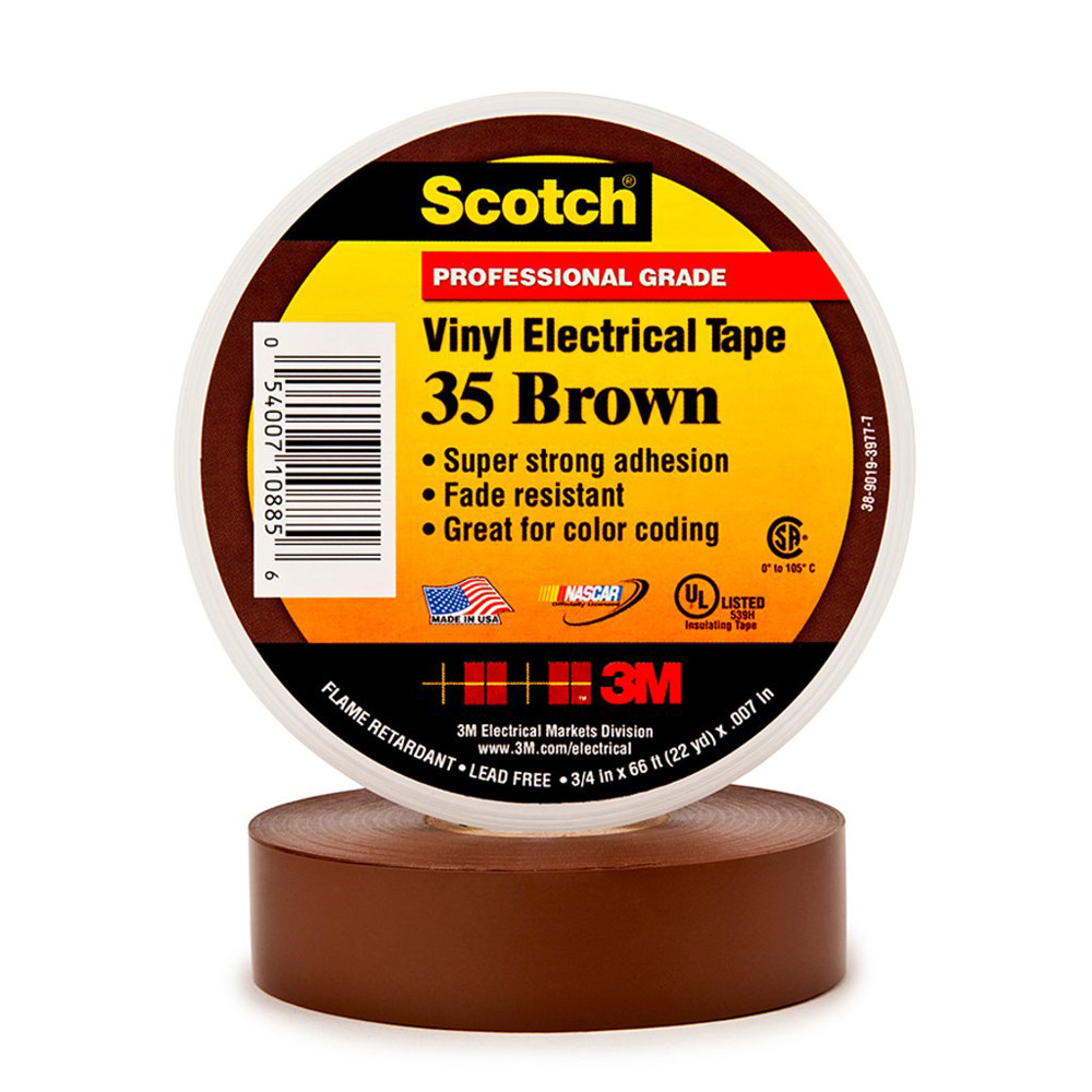 """3M Electrical Tape 35 3/4"""" x 66ft Brown"""