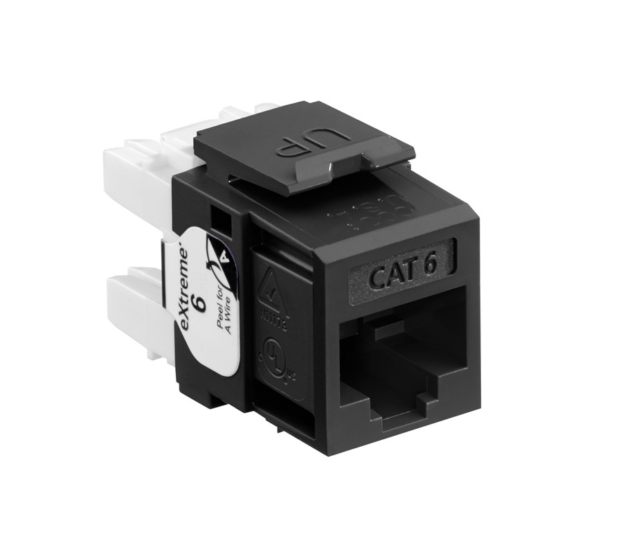 LEVITON eXtreme Cat 6 QuickPort Jack, Black