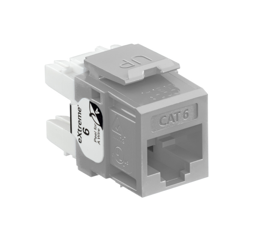 LEVITON eXtreme Cat 6 QuickPort Jack, Grey