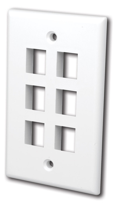 VANCO Quickport Wall Plate 6-Port White