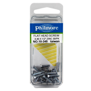 "PHILMORE 4-40 x 1/2"" Flat Head Screws 30pk"