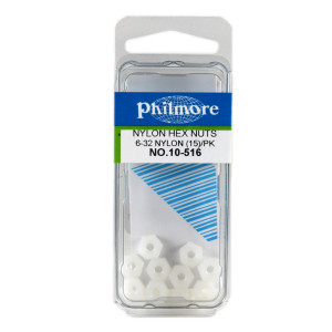 "PHILMORE 6-32 x 1/4"" Nylon Hex Nuts 15pk"