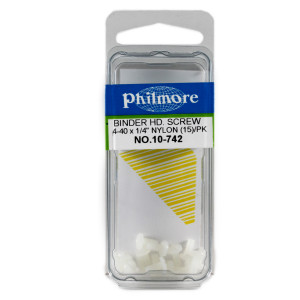 "PHILMORE 4-40 x 1/4"" Nylon Binder Head Screws 15pk"