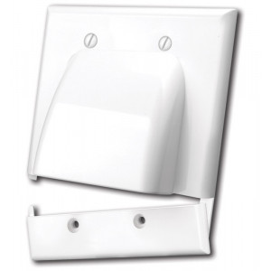 VANCO Hinged Dual Gang Bulk Cable Wall Plate