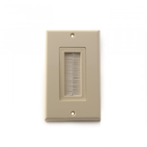 VANCO Decor Style Brush Bulk Cable Wall Plate Almond