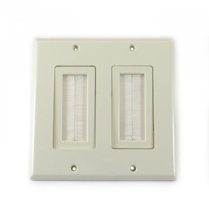 VANCO Decor Style Dual Gang Brush Bulk Cable Wall Plate Almond