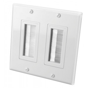 VANCO White Dual Decora Brush Style Wall Plate