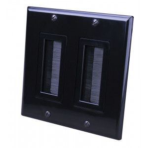 VANCO Black Dual Decora Brush Style Wall Plate