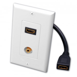 VANCO Single HDMI Pigtail and 3.5 mm Stereo Jack Decor Wall Plate