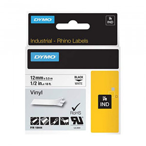 "DYMO All-Purpose Vinyl Labels 1/2"" Black on White"