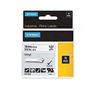 "DYMO All-Purpose Vinyl Labels 3/4"" Black on White"