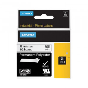 "DYMO Permanent Polyester Labels 1/2"" Black on White"