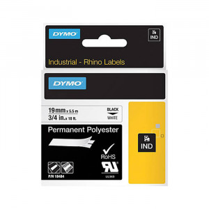 "DYMO Permanent Polyester Labels 3/4"" Black on White"