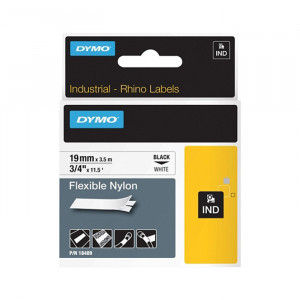 "DYMO Flexible Nylon Labels 3/4"" Black on White"