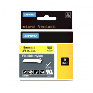 "DYMO Flexible Nylon Labels 3/4"" Black on Yellow"