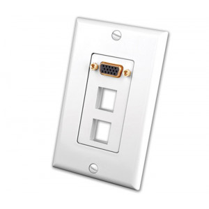 VANCO S-VGA Wall Plate Insert with Dual Keystone Openings