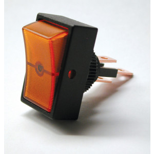 PHILMORE Round Hole On-Off Rocker Switch Lighted (Amber)