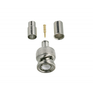 GEM 3 Piece BNC Male Crimp Connector For RG59 10 pack