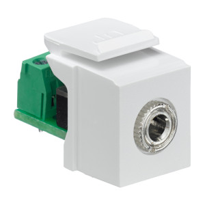 LEVITON 3.5mm Stereo QuickPort Connector, Female to Screw Terminal, White Housing