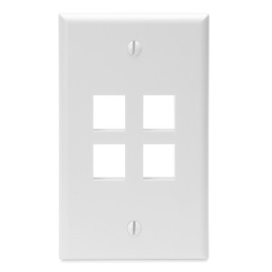 LEVITON Quickport Wall Plate 4-Port White