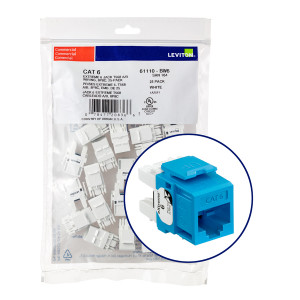 LEVITON eXtreme Cat 6 QuickPort Jack Quickpack, 25-pack, Blue