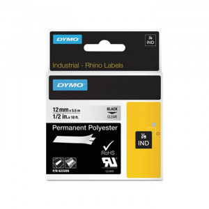"DYMO Permanent Polyester Labels 1/2"" Black Print on Clear Tape"