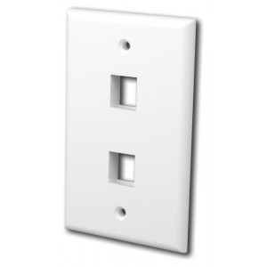 VANCO Quickport Wall Plate 2-Port White
