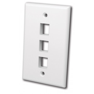 VANCO Quickport Wall Plate 3-Port White