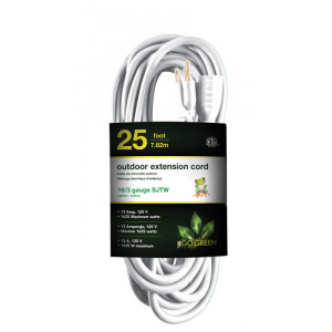 GO GREEN 25ft AC Extension Cord 16/3 White