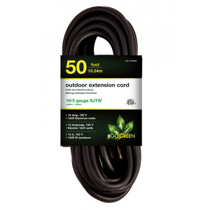 GO GREEN 16/3 50ft Heavy Duty Extension Cord