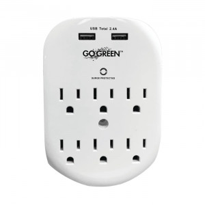 GO GREEN 6-Outlet Wall Tap with Surge Protection and 2 USB Ports