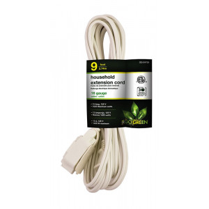 GO GREEN 9ft 16/2 3- Outlet Household Extension Cord - White