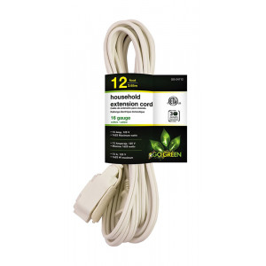 GO GREEN 12ft 16/2 3- Outlet Household Extension Cord - White