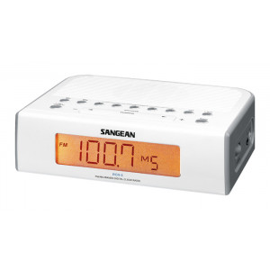 SANGEAN FM/AM Digital Tuning Clock Radio White