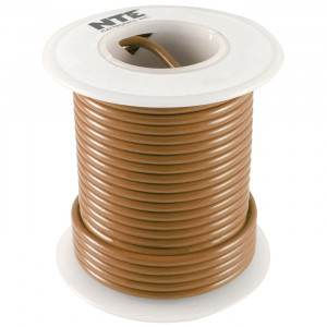 NTE Hook-up Wire 22 AWG Solid 25ft Brown