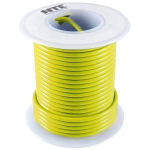 NTE Hook-up Wire 22 AWG Solid 25ft Yellow
