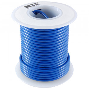 NTE Hook-up Wire 22 AWG Solid 25ft Blue