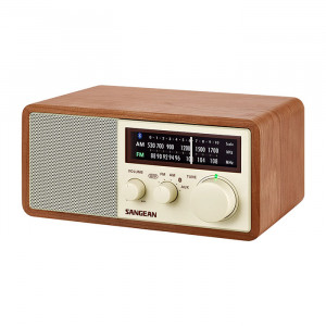SANGEAN 45th Special Edition FM/AM Bluetooth Wooden Cabinet Radio with USB Charging