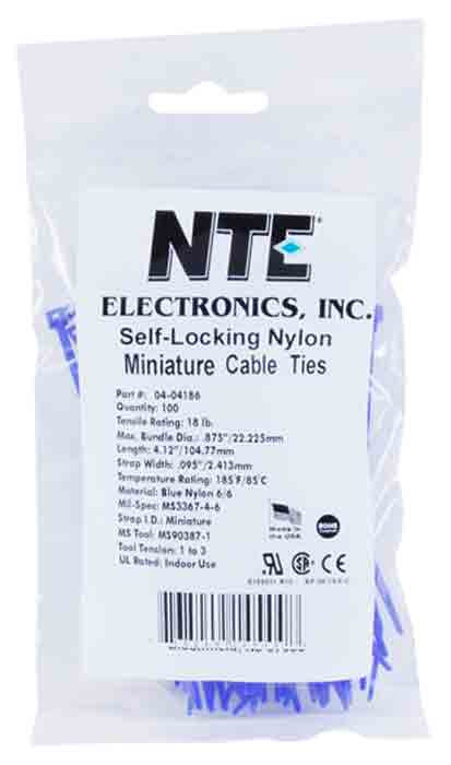 "NTE Cable Ties 5.84"" 40# Blue 100pk"