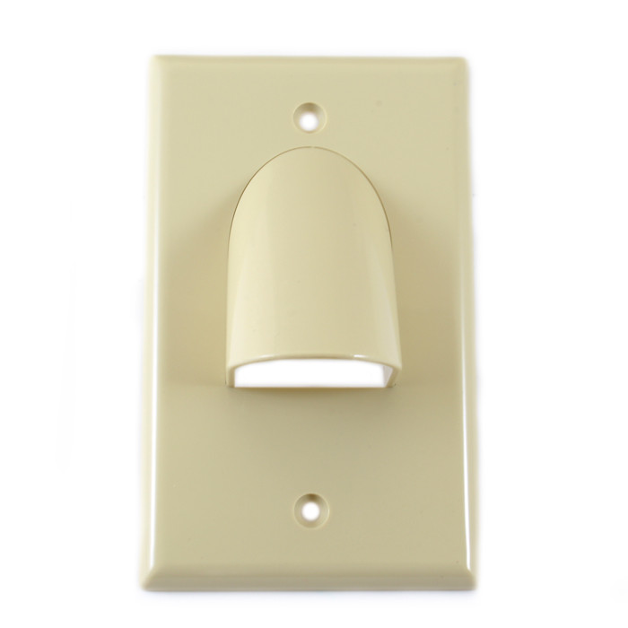 VANCO Custom Two-Piece Reversible Bulk Cable Wall Plate Ivory