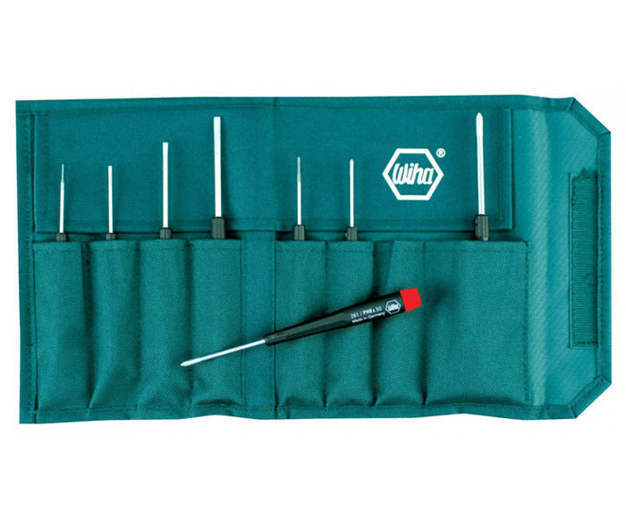 WIHA Precision Slotted/Phillips Screwdrivers 8 Piece Set in Canvas Pouch