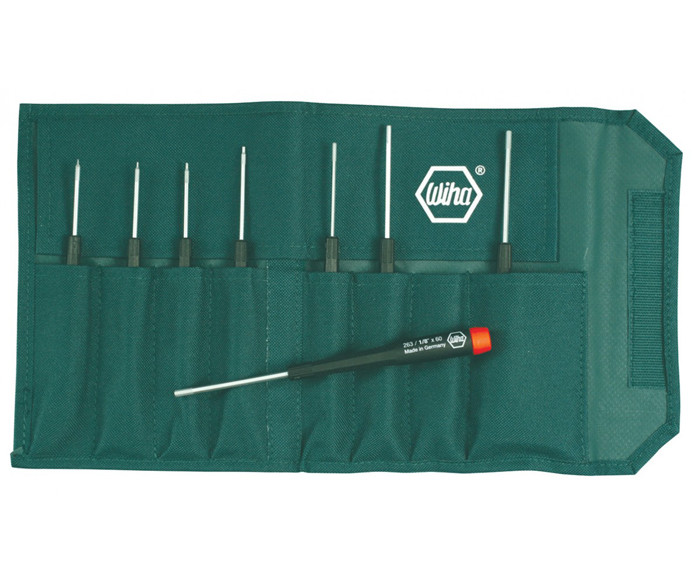 WIHA Precision Hex Inch Screwdrivers 8 Piece Set in Canvas Pouch