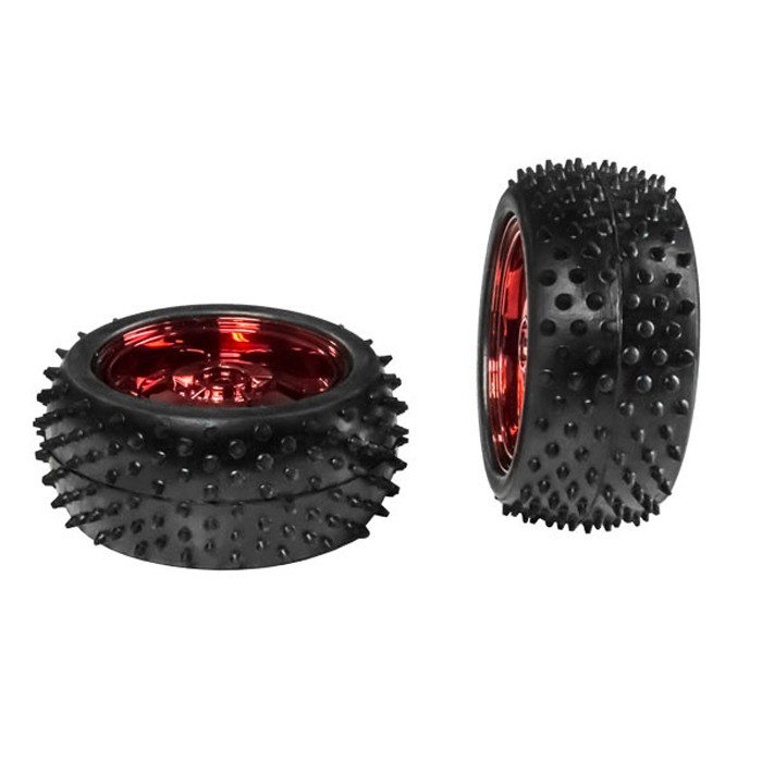 ACTOBOTICS 85mm Off-Road Robot Tire with Red Wheel (Pair)