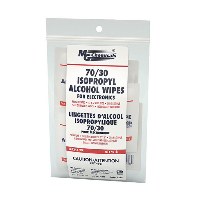 MG CHEMICALS Isopropyl Alcohol Wipes 70/30 25pk