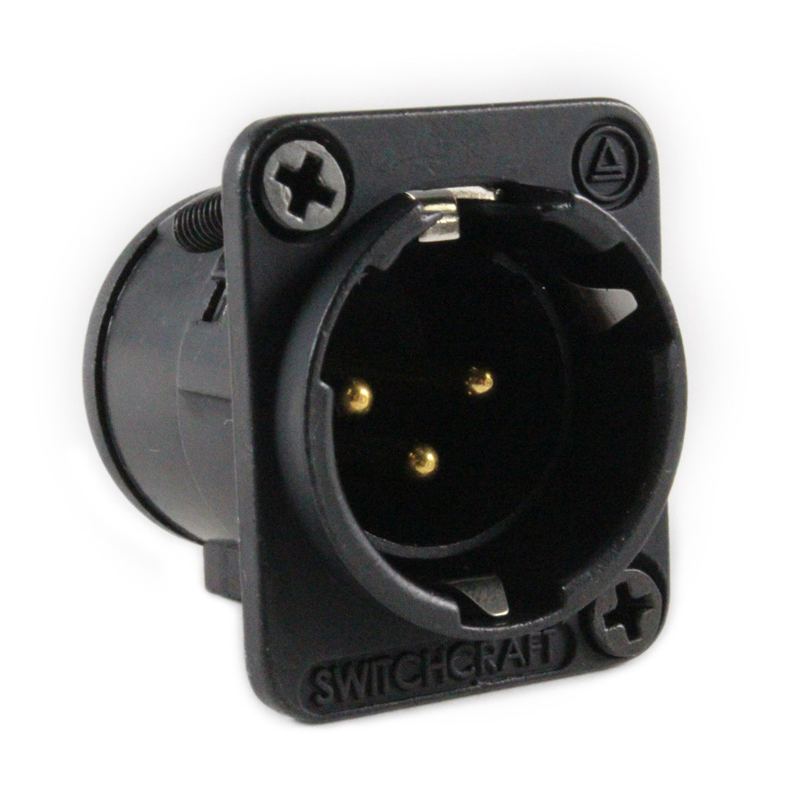 SWITCHCRAFT E Series 3 Pin XLR Male Panel Mount Gold Pins
