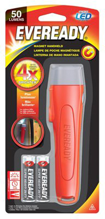 EVEREADY Magnetic Handheld Flashlight with 2 AA Batteries