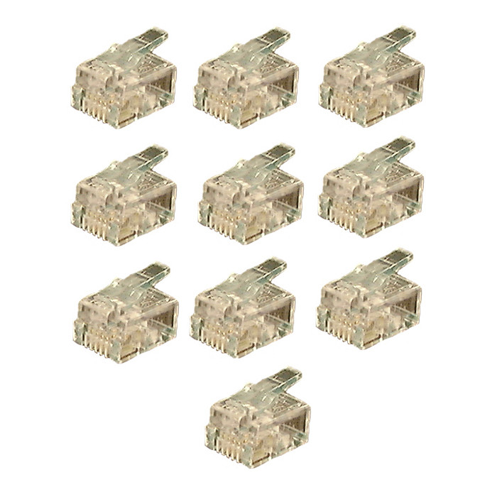 PHILMORE 6 Conductor Modular Plug for Round Cable 10 Pack