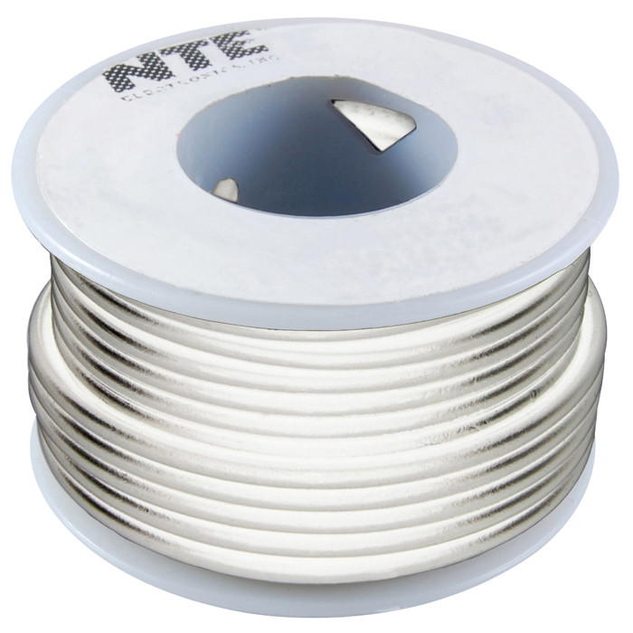 NTE Hook-up Wire 18 AWG Stranded 25ft White