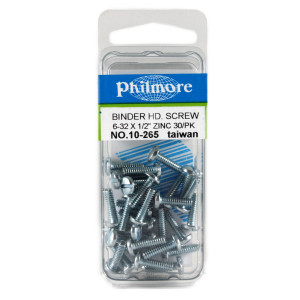 "PHILMORE 6-32 x 1/2"" Binder Head Screws 30pk"